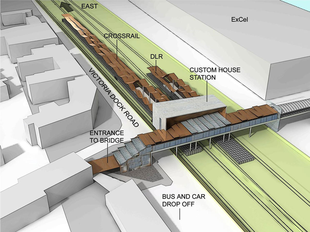 Crossrail Custom House Aerial View Diagram by Marks Barfield Architects