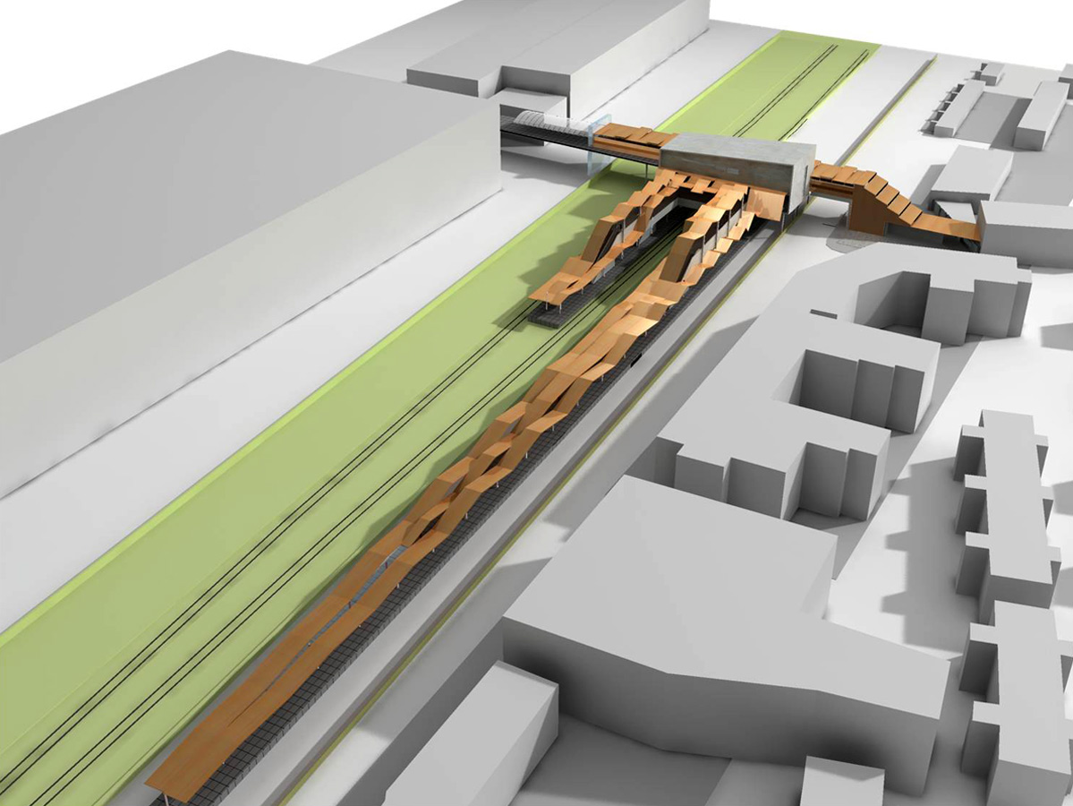 Crossrail Custom House Platform Ondulated Canopy by Marks Barfield Architects