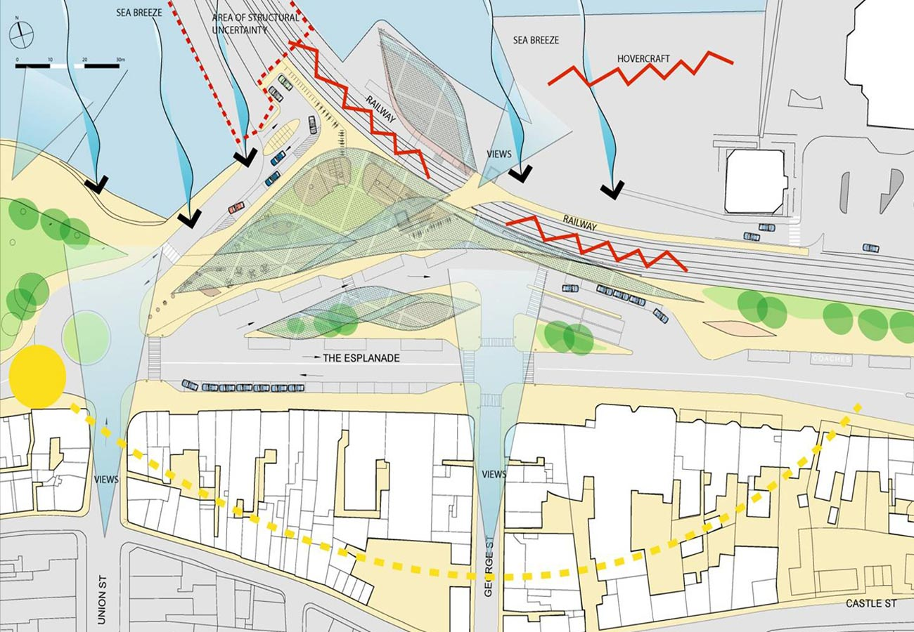 Ryde Interchange Site Constraints Diagram by Marks Barfield Architects