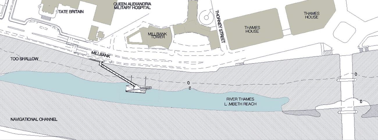 Mill Bank Pier Location Plan by Marks Barfield Architects