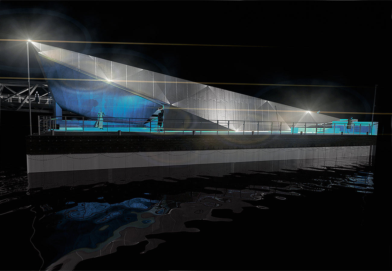 Mill bank Millennium Pier CGI Lighting by Marks Barfield Architects
