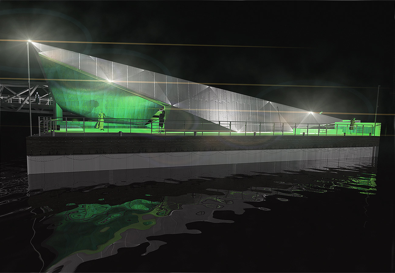 Mill Bank Pier Night CGI by Marks Barfield Architects