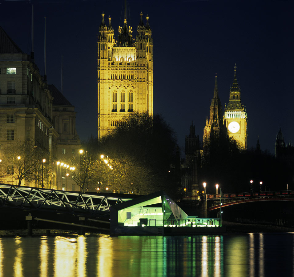 Mill Bank Millennium Pier Big Ben Night View by Marks Barfield Architects