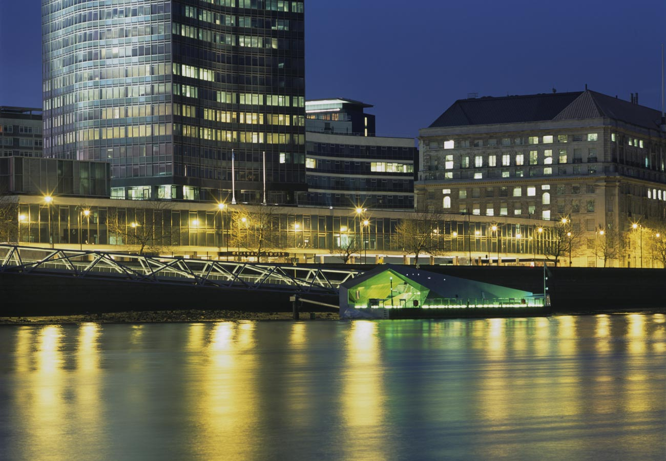 Mill Bank Night Shot by Marks Barfield Architects