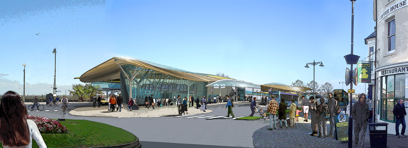 Ryde Interchange Approach View Close by Marks Barfield Architects