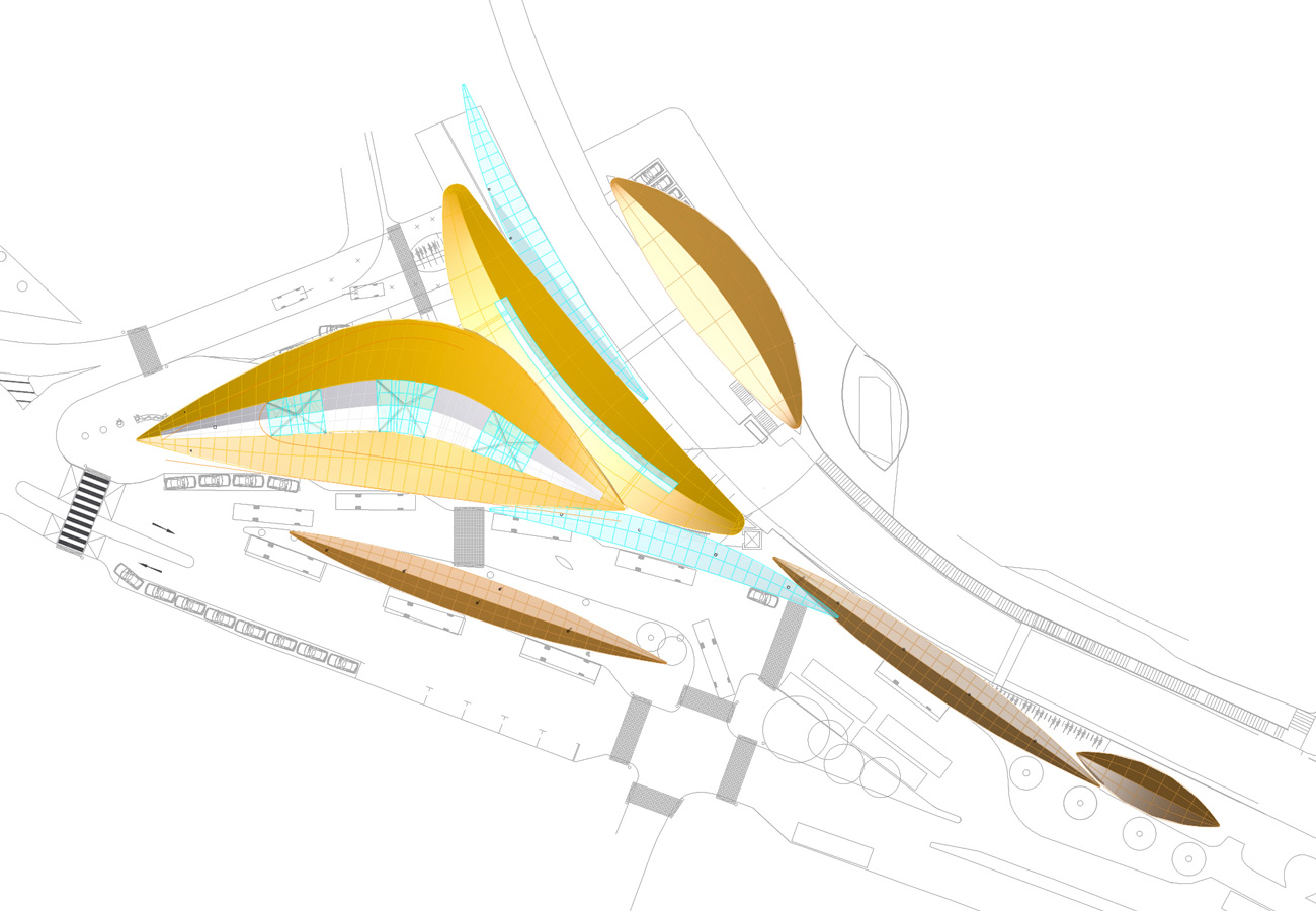 Ryde Interchange Aerial Top View by Marks Barfield Architects