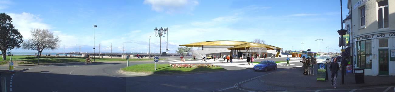 Ryde Interchange Approach View by Marks Barfield Architects