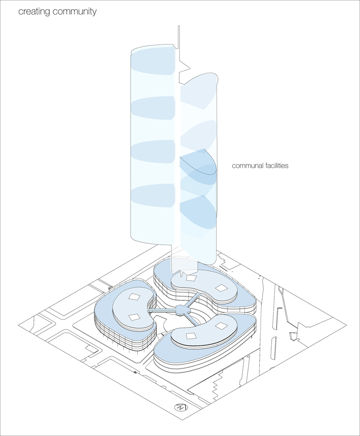 Skyhouse Community Diagram by Marks Barfield Architects