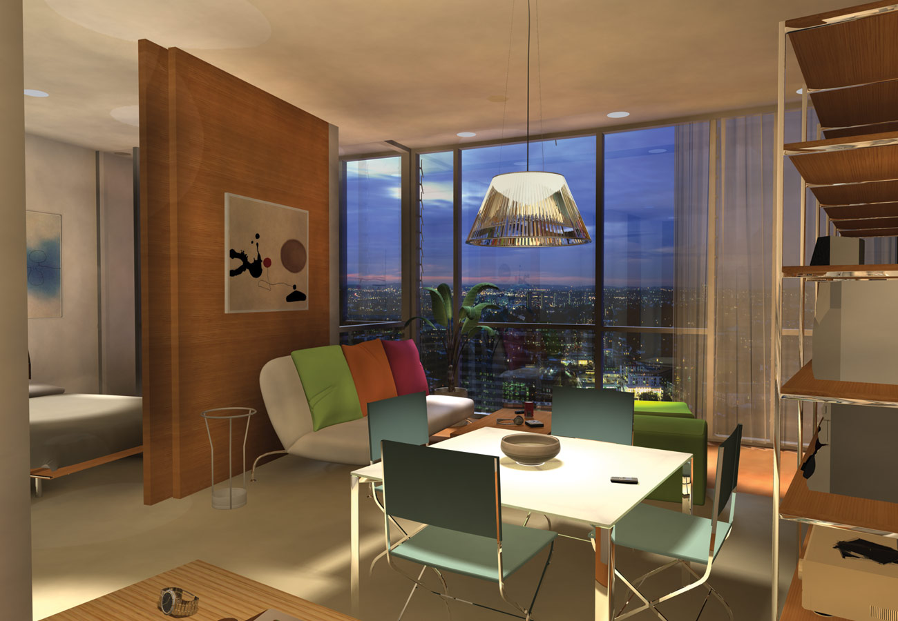 Skyhouse CGI interior view by Marks Barfield Architects