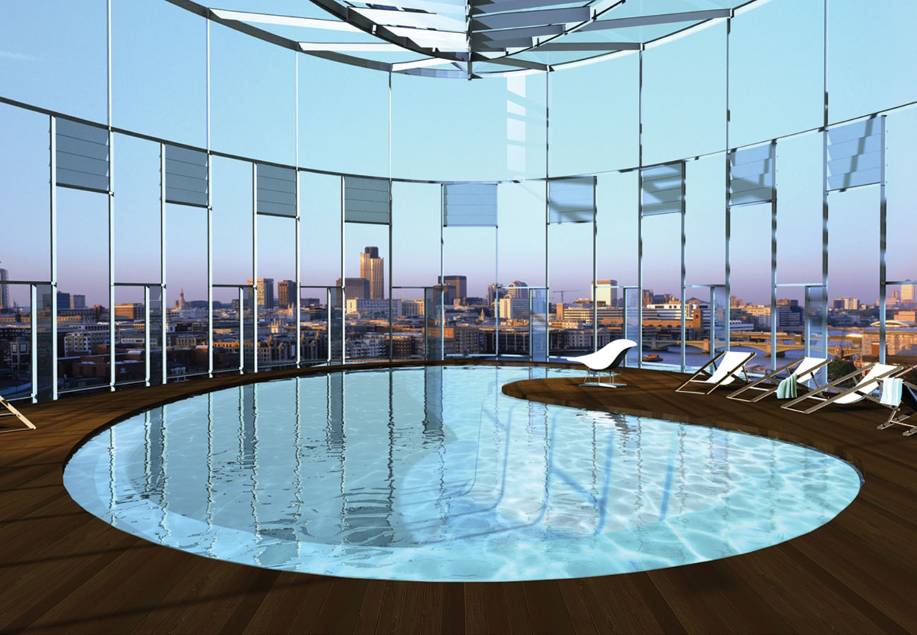 Skyhouse CGI pool view by Marks Barfield Architects