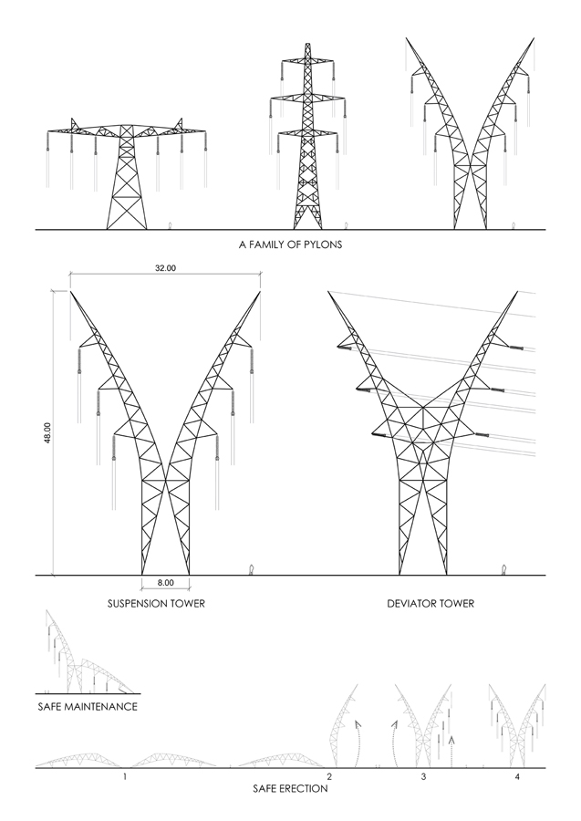 National Grid Pylon Diagram by Marks Barfield Architects
