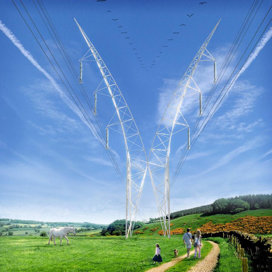 National Grid Pylon CGI by Marks Barfield Architects