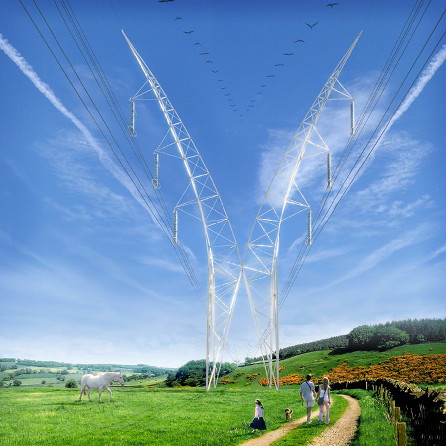 National Grid Pylon CGI by Marks Barfield Architects