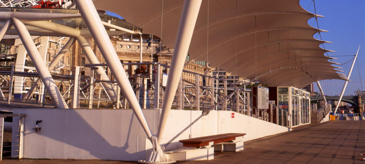 Waterloo Millennium Pier by Marks Barfield Architects