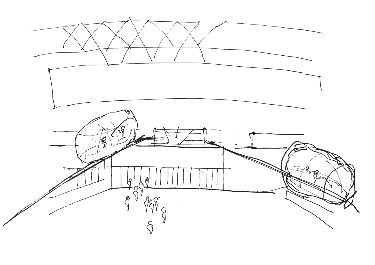 Wembley Olympic Steps Concept Sketch by Marks Barfield Architects