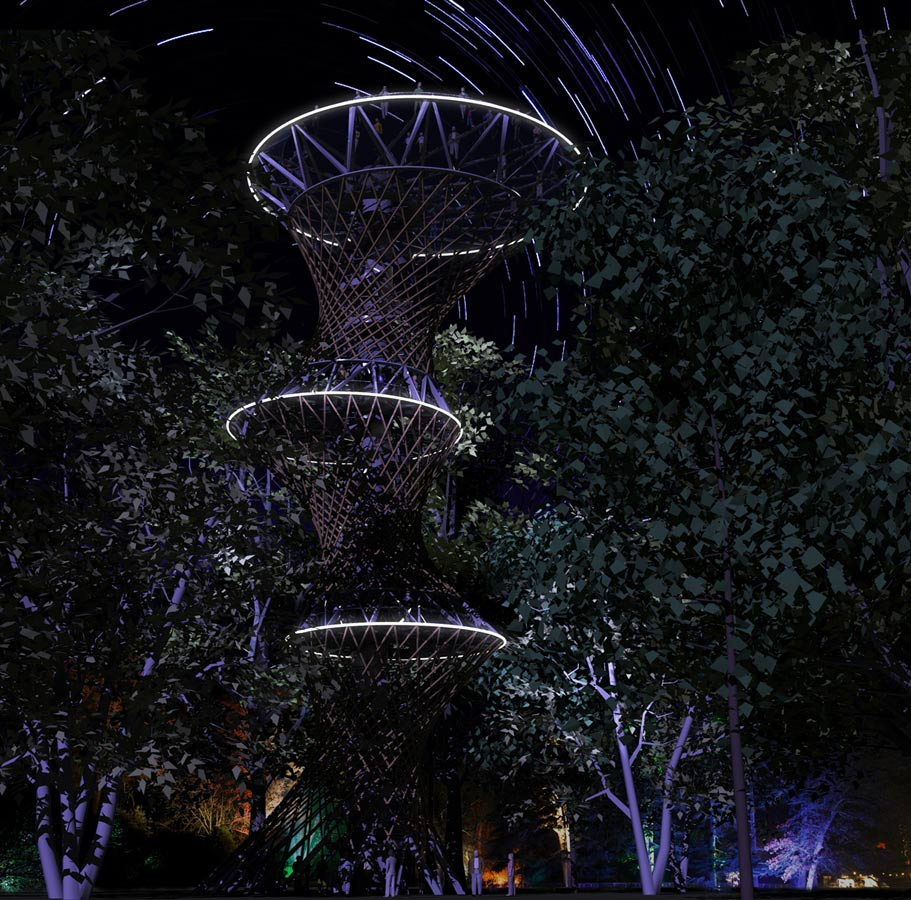 Hyper Tower Night CGI by Marks Barfield Architects