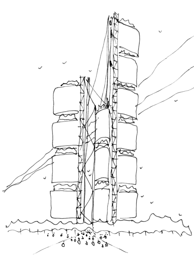 Skyhouse Sketch by Marks Barfield Architects