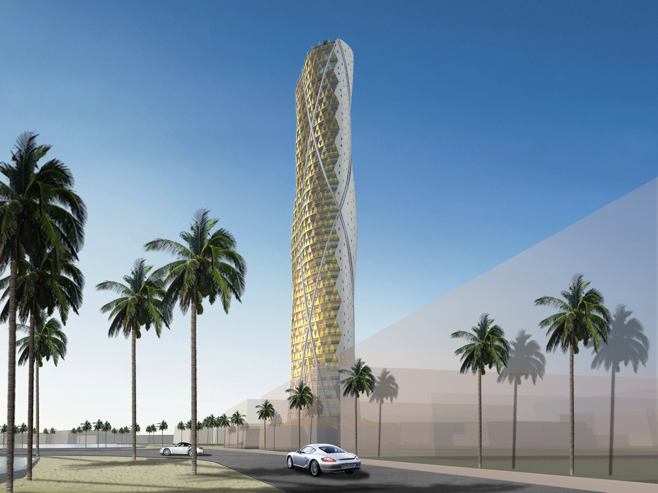 Jeddah Tower Residences Golden Cladding Building View by Marks Barfield Architects
