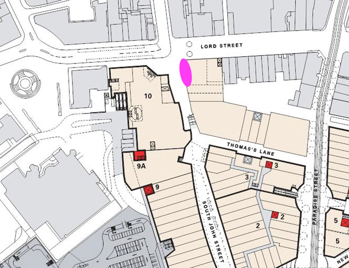 location plan - Liverpool One Costa Cafe by Marks Barfield Architects