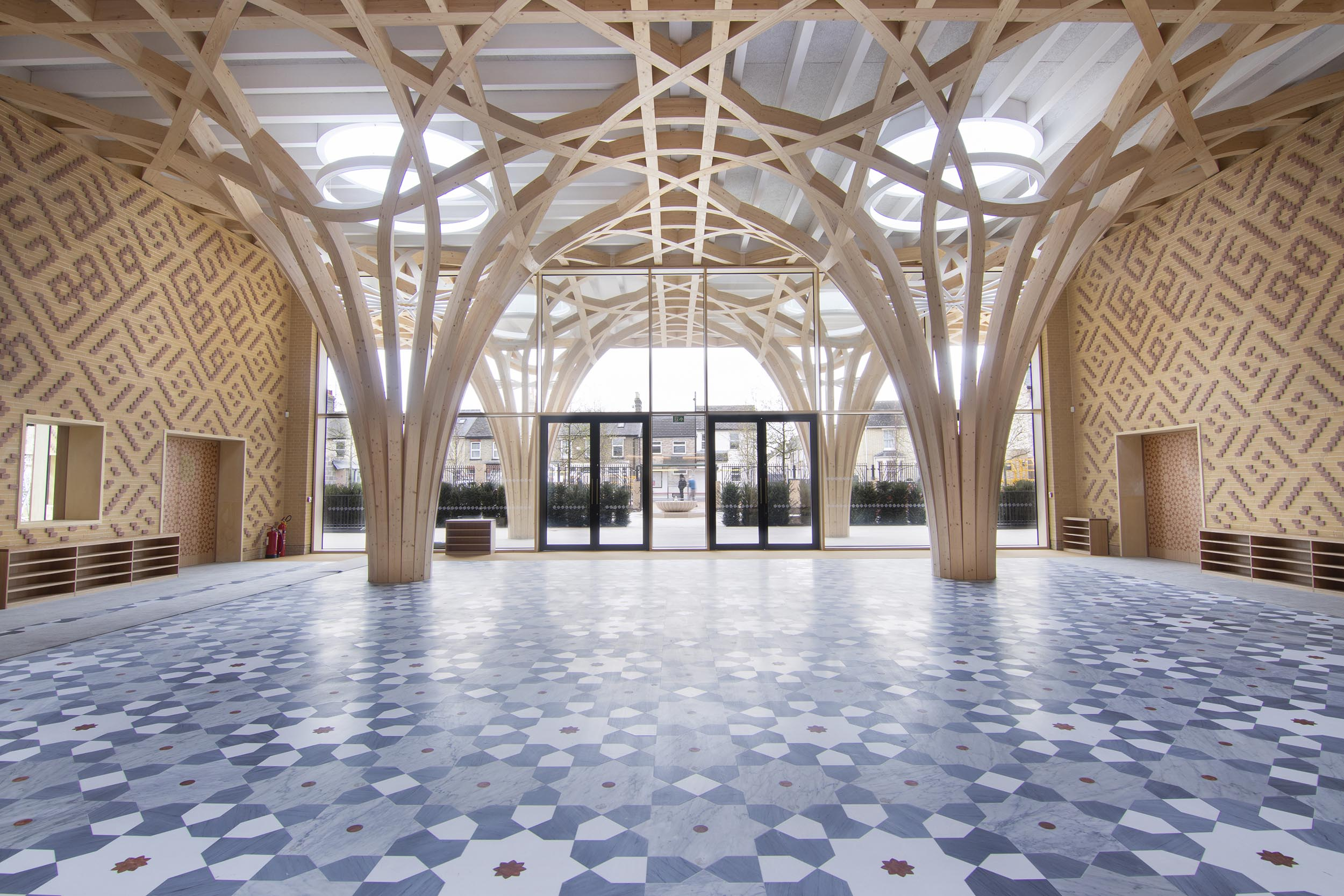 Cambridge Mosque - Atrium - by Marks Barfield Architects, photo by Abdallah Abada