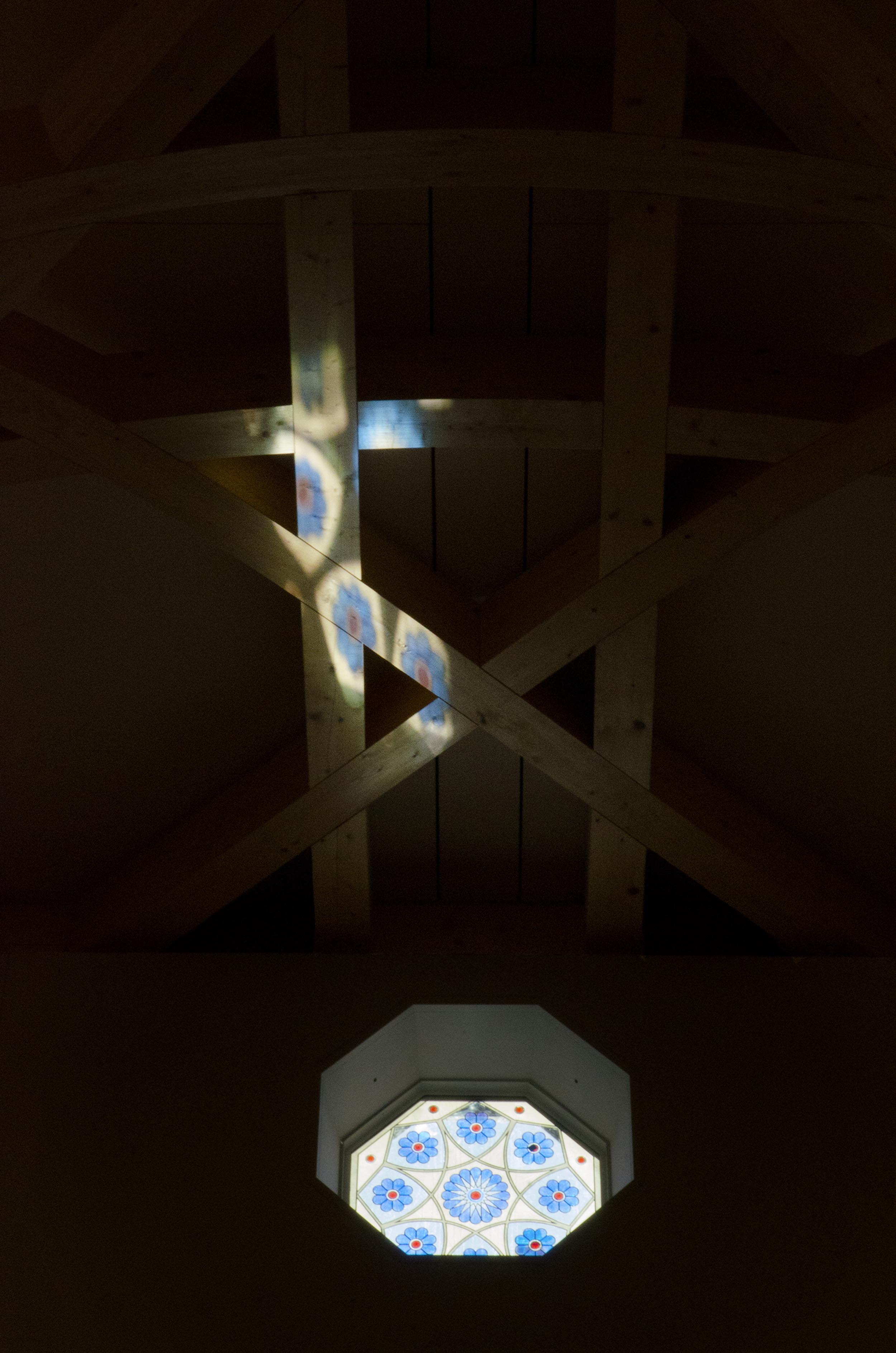 Cambridge Mosque - Stained glass window - by Marks Barfield Architects, photo by Julia C. Johnson