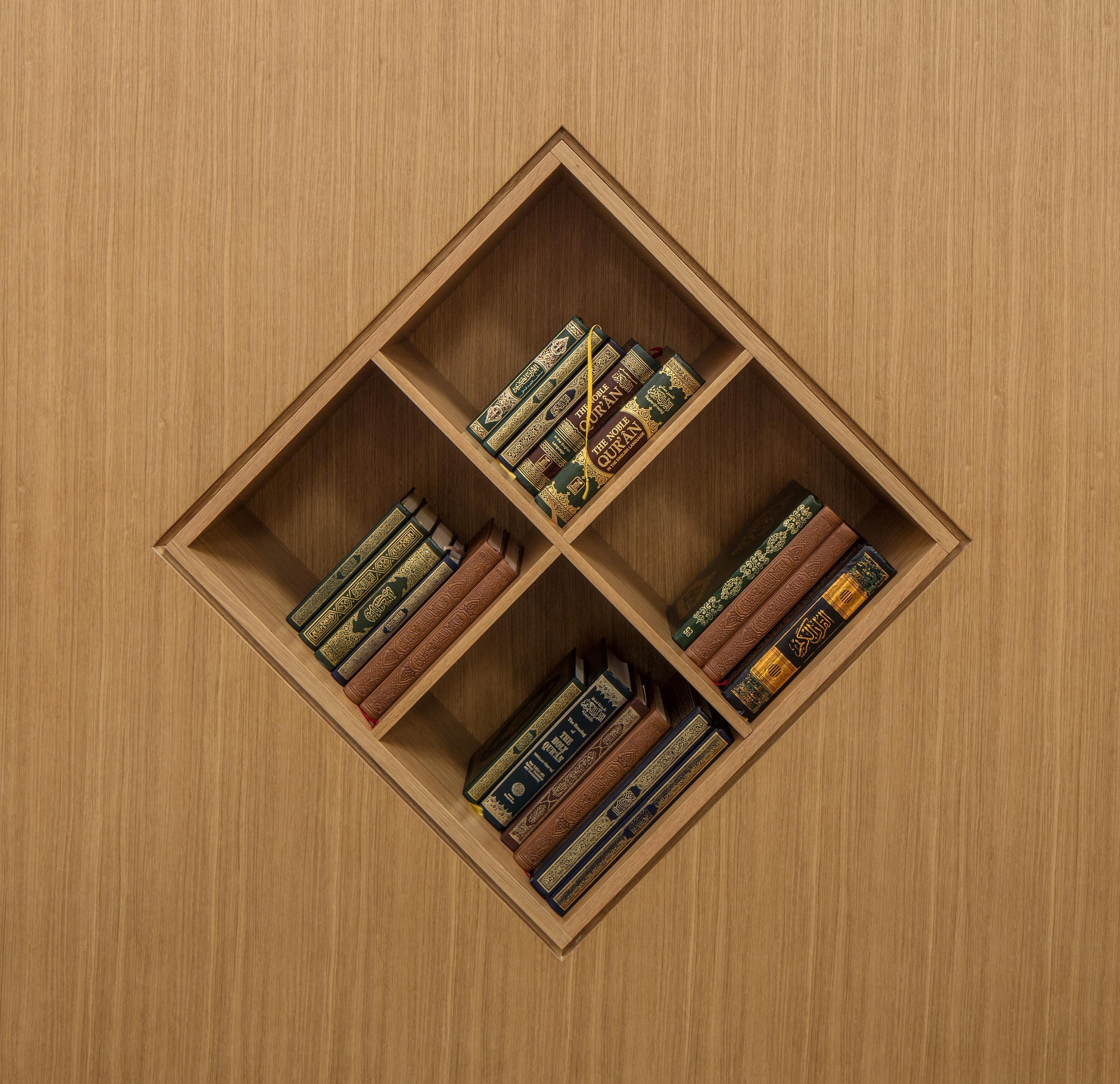 Cambridge Mosque Bookshelf in Prayer Hall by Marks Barfield Architects, photo by Morley von Sternberg