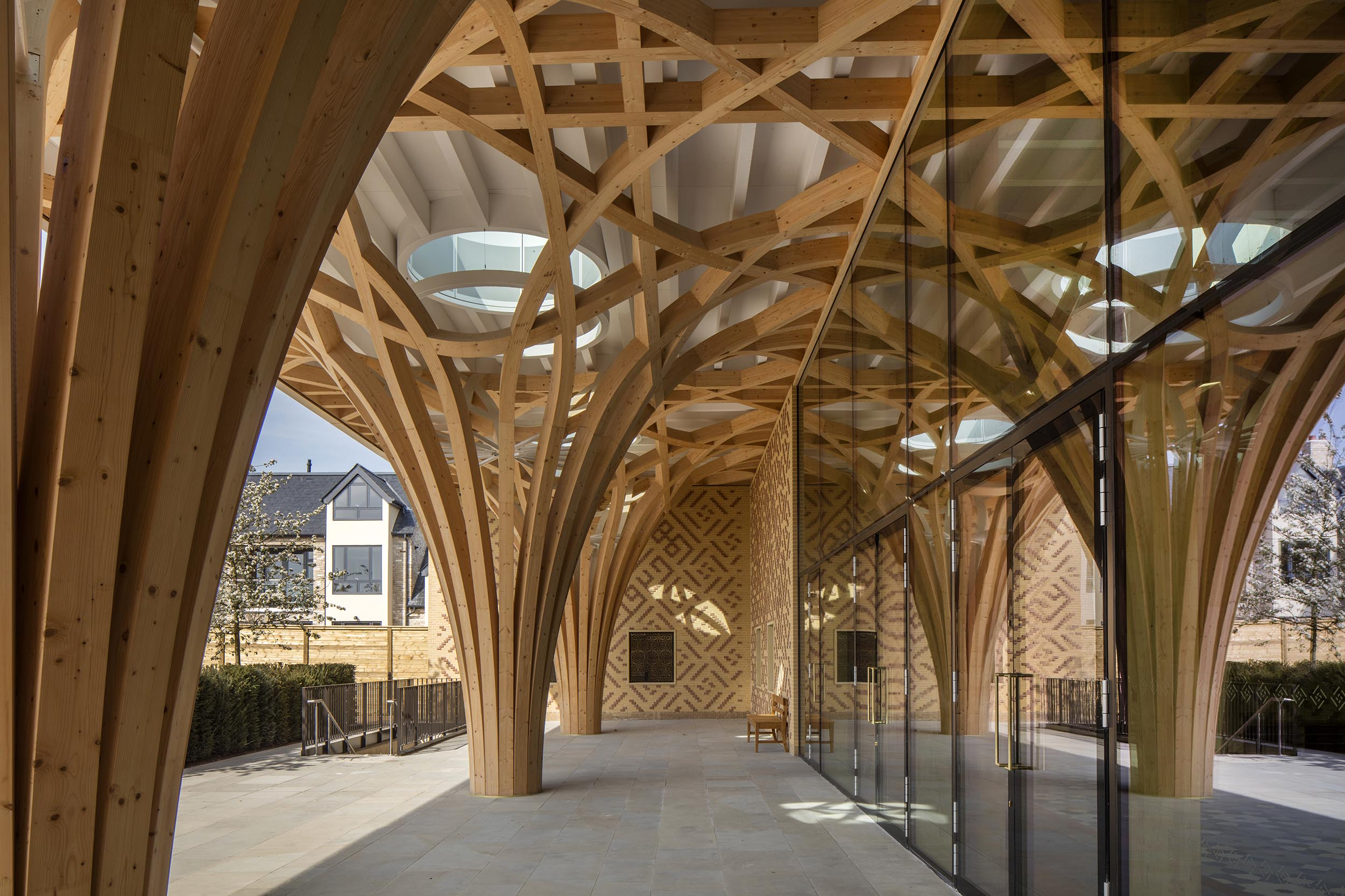 Cambridge Mosque - Front portico- by Marks Barfield Architects, photo Morley von Sternberg