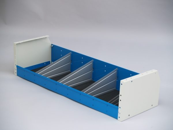 Shelving units with rear tapered corner
