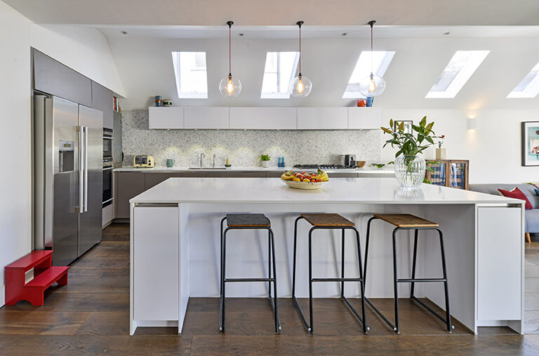 Fully fitted with kitchen island and skylights