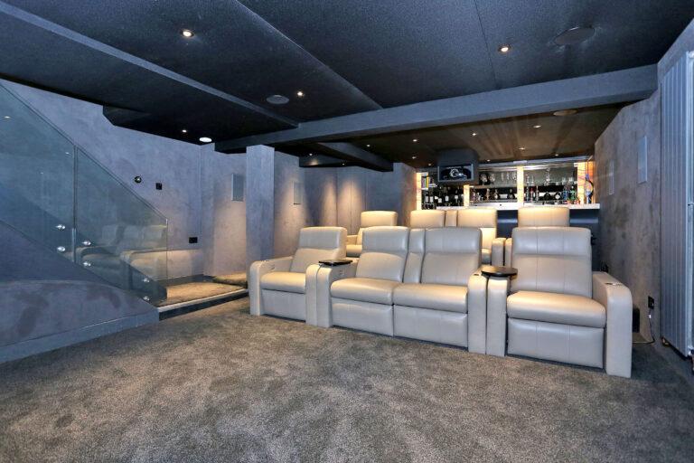 Basement cinema and bar after