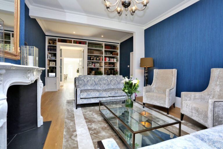 Sitting room after with bespoke bookcase