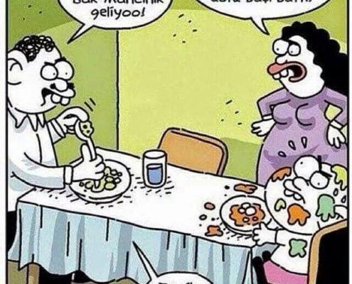 Oyunlaştırılmış yemek yeme karikatürü