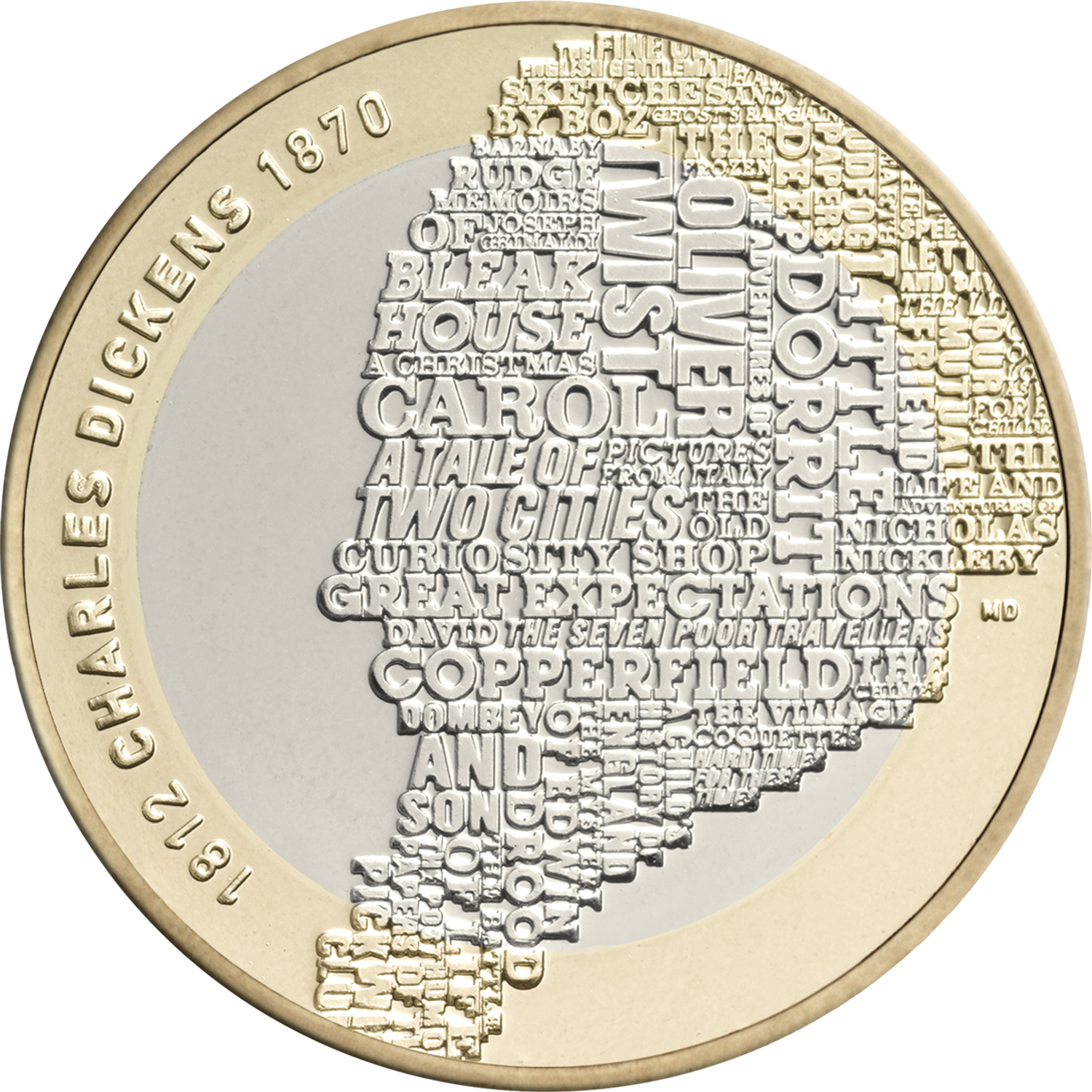 Design of the Charles Dickens £2 coin