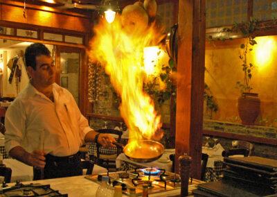 Flambed steaks