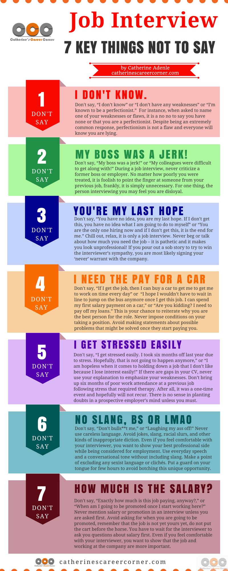 Job Interview: 7 Key Things Not to Say_Infographic