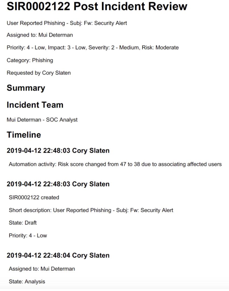 Post Incident Report