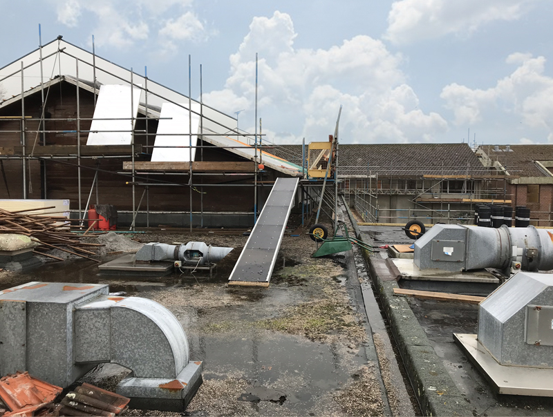 Construction of new school roof