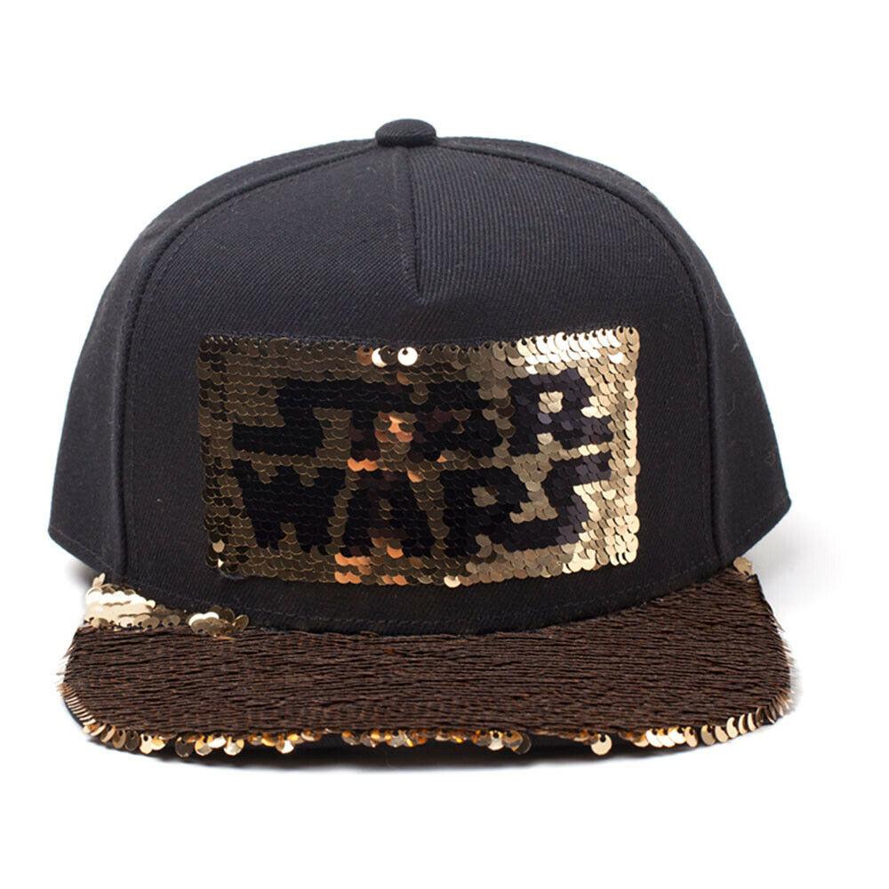 STAR WARS Star Wars Logo Sequins Snapback Baseball Cap, Black/Gold
