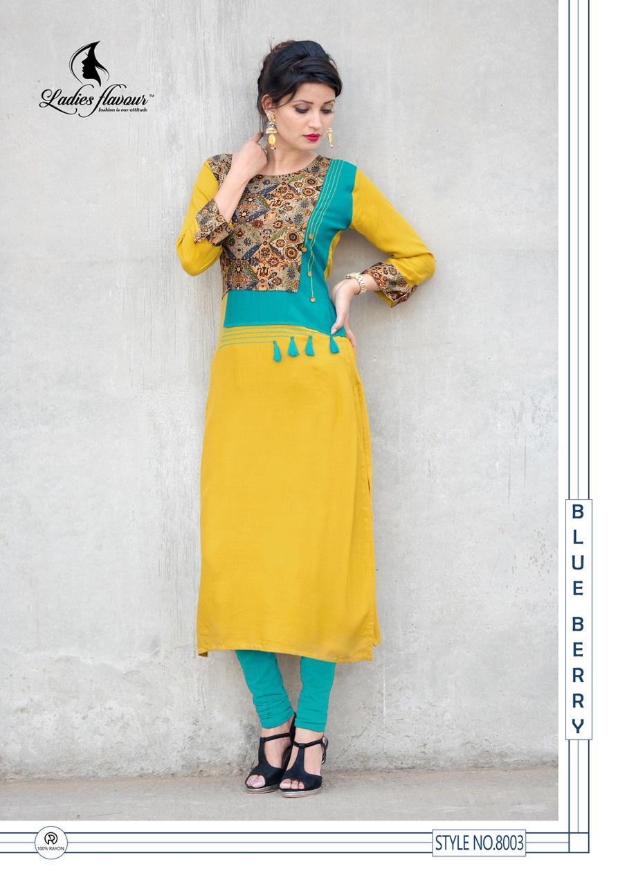 New Fashion Straight Long Kurti in Yellow and Firoji Colour