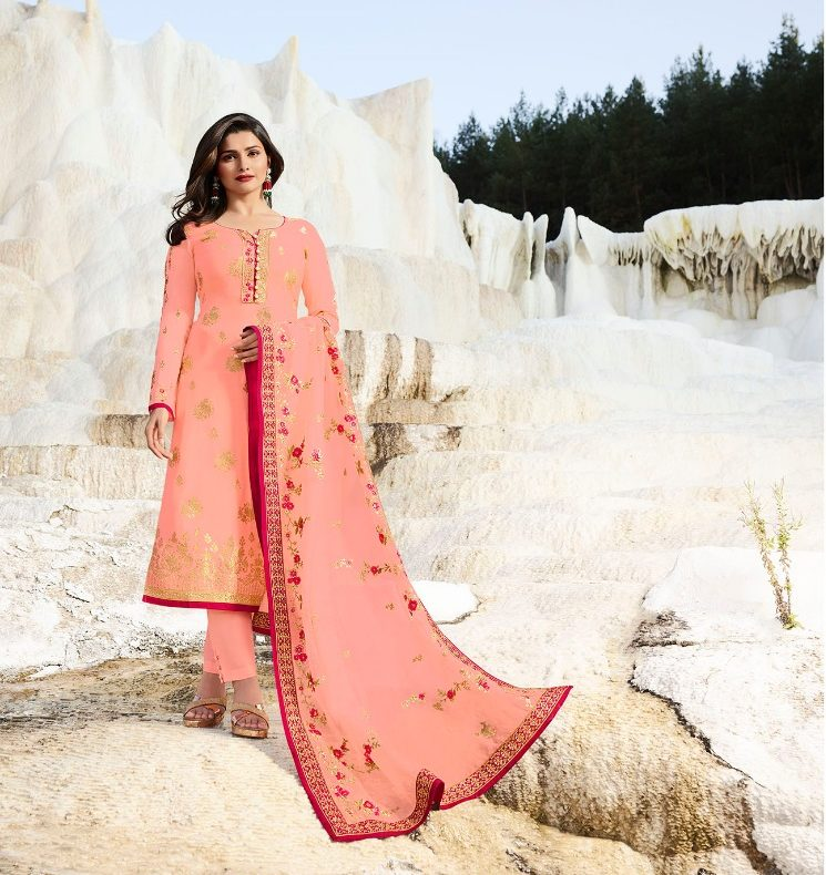 New Style Coral Colour Royal Designer Salwar Suits with Heavy Dupatta