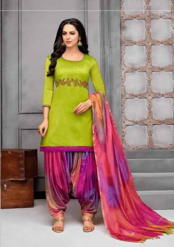 New Fancy Patiala Salwar Suits In Parrot Colour