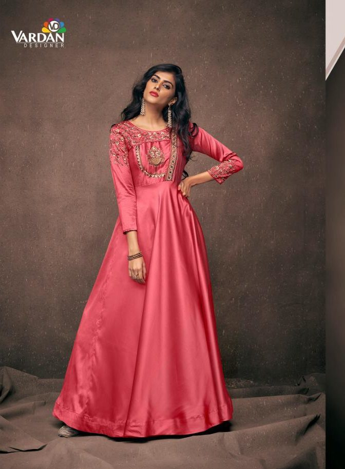New Fancy Printed Designer Straight Long Kurti In Coral Colour