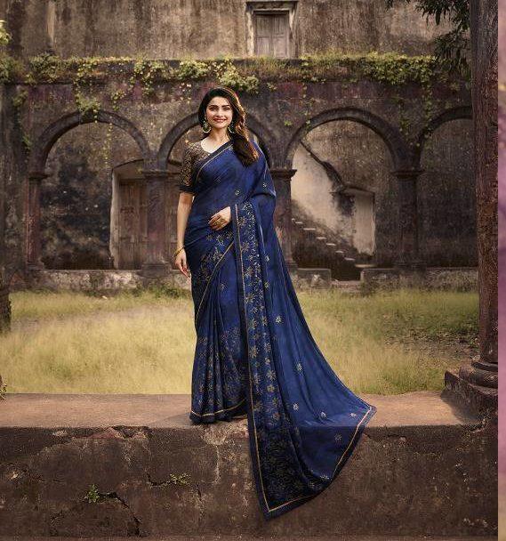 Prachi Desai Style Steel Blue Sequence Saree