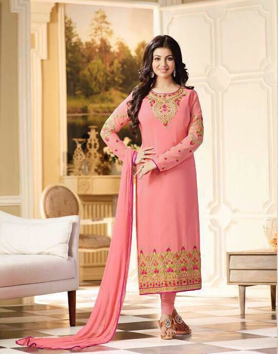 Pink Salwar Kameez in Heavy Embroidery with Dupatta