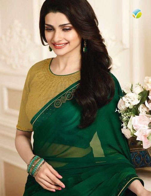 Prachi Desai Style Royal Designer Saree in Green Colour
