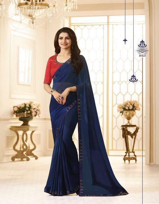 Prachi Desai Style Royal Designer Saree Indigo Colour