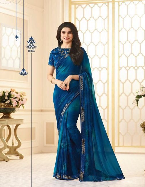 Prachi Desai Style Royal Designer Saree in Royal Blue