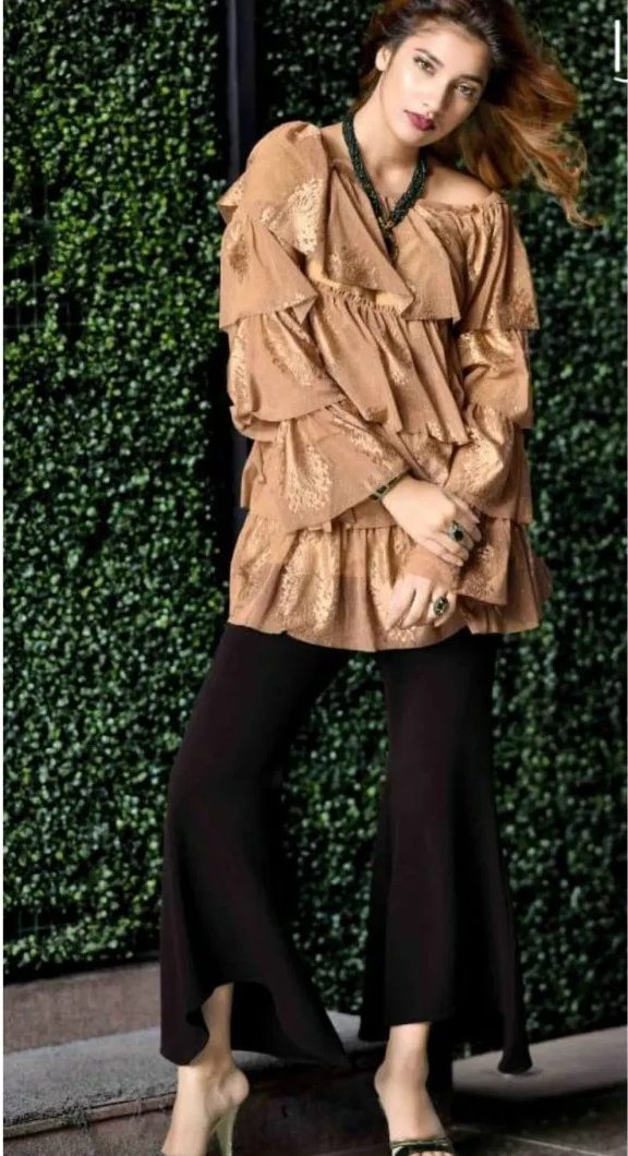 New Fashion Designer Brown Top with Black Pant