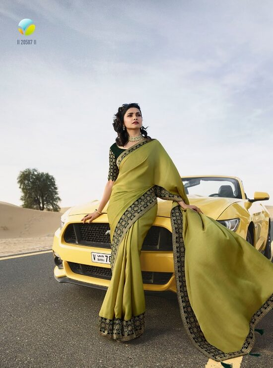 New Fancy Embroidered Saree With Embroidered Blouse in Olive Colour