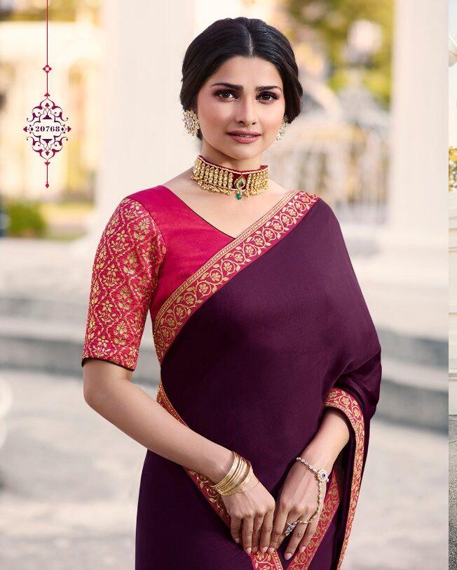 Prachi Desai Bollywood Style Maroon Plain Saree Embroidered Border